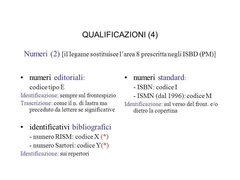 QUALIFICAZIONI (4) Numeri (2) [il legame sostituisce larea 8 prescritta negli ISBD (PM)] numeri editoriali : codice tipo E Identificazione: sempre sul frontespizio Trascrizione: come il n.