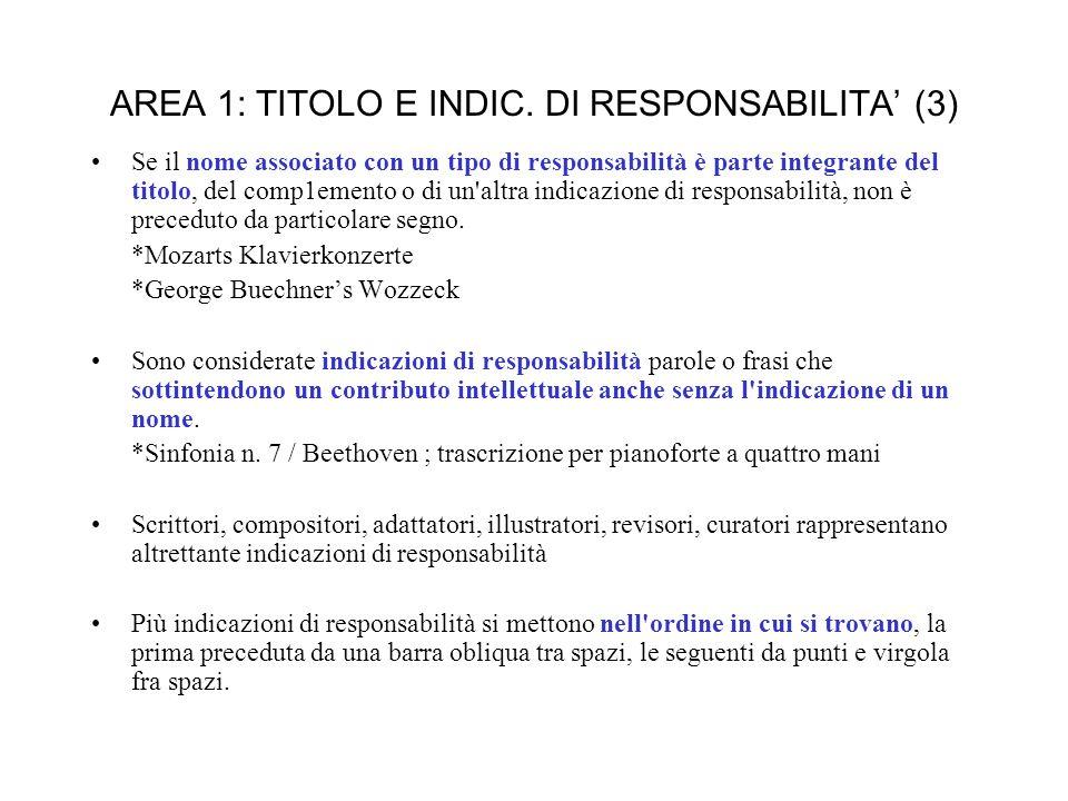 AREA 1: TITOLO E INDIC.