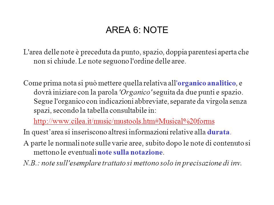 AREA 6: NOTE L area delle note è preceduta da punto, spazio, doppia parentesi aperta che non si chiude.