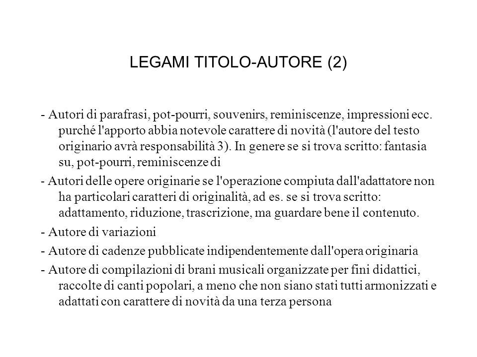 LEGAMI TITOLO-AUTORE (2) - Autori di parafrasi, pot-pourri, souvenirs, reminiscenze, impressioni ecc.