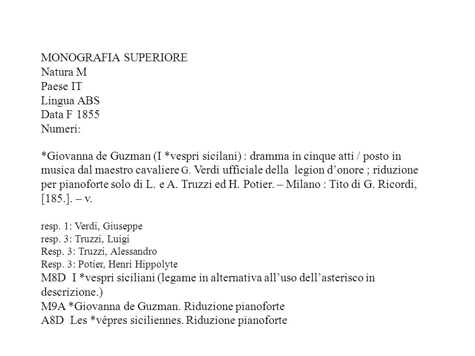 MONOGRAFIA SUPERIORE Natura M Paese IT Lingua ABS Data F 1855 Numeri : *Giovanna de Guzman (I *vespri sicilani) : dramma in cinque atti / posto in musica dal maestro cavaliere G.