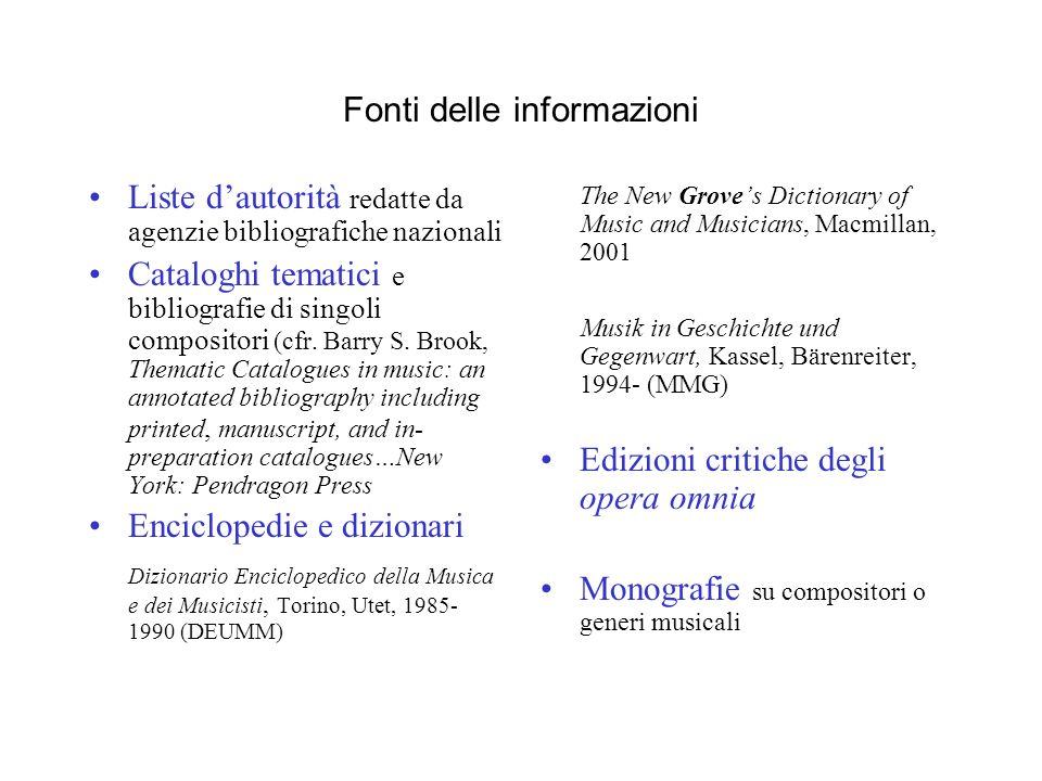Fonti delle informazioni Liste dautorità redatte da agenzie bibliografiche nazionali Cataloghi tematici e bibliografie di singoli compositori (cfr.