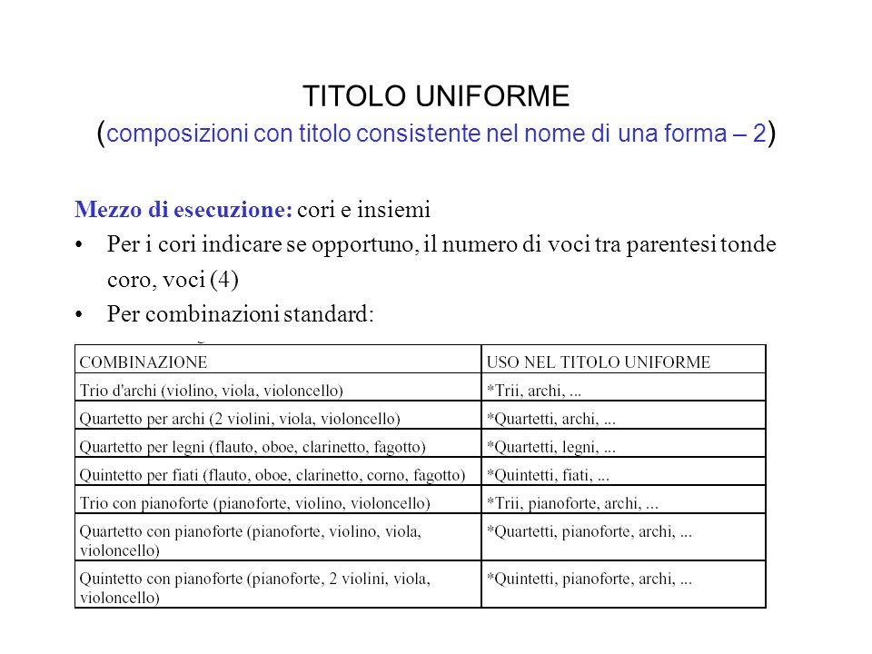 TITOLO UNIFORME ( composizioni con titolo consistente nel nome di una forma – 2 ) Mezzo di esecuzione: cori e insiemi Per i cori indicare se opportuno, il numero di voci tra parentesi tonde coro, voci (4) Per combinazioni standard: