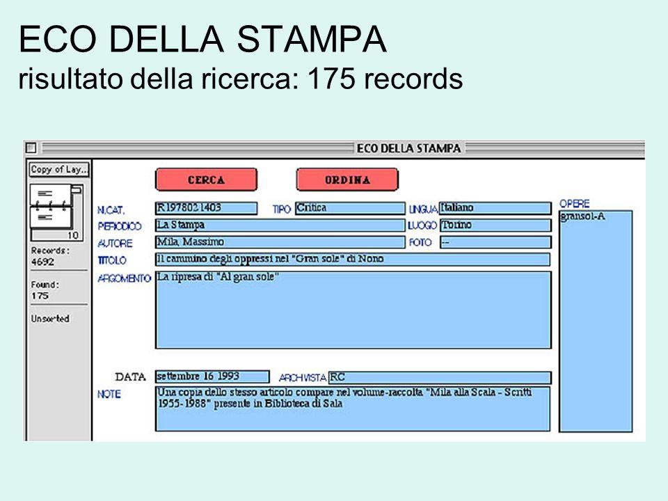 ECO DELLA STAMPA risultato della ricerca: 175 records