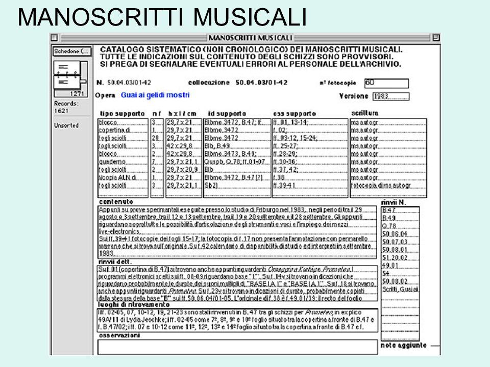 MANOSCRITTI MUSICALI