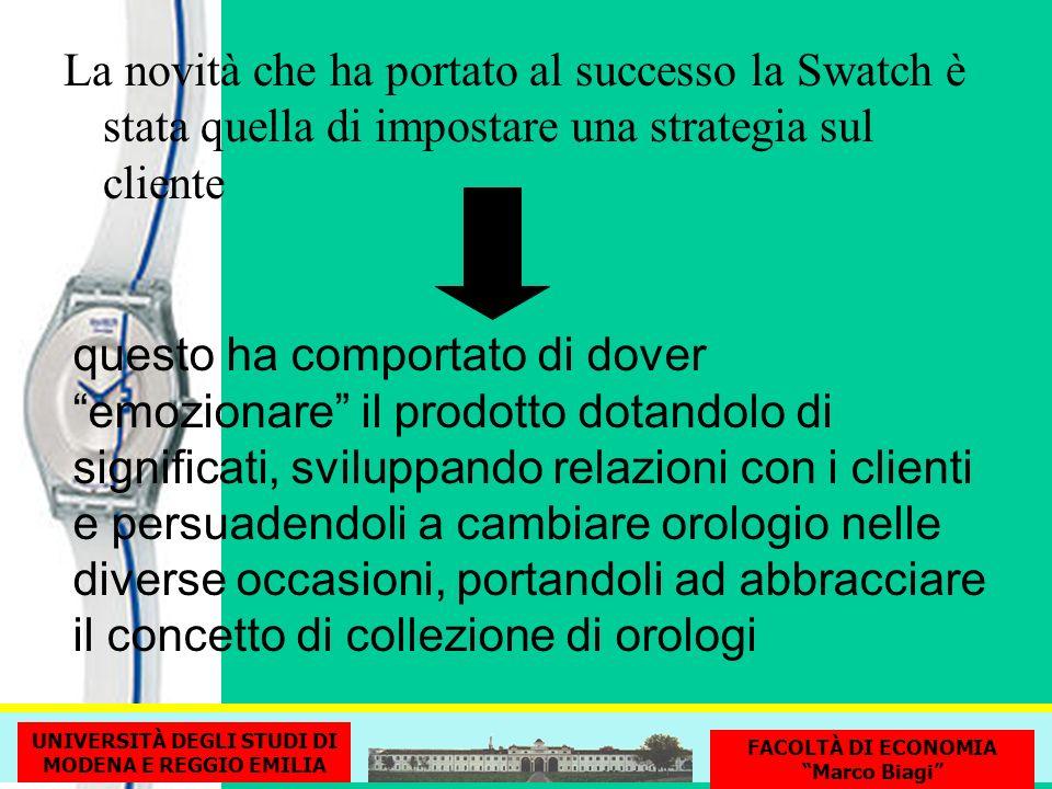 La novità che ha portato al successo la Swatch è stata quella di impostare una strategia sul cliente questo ha comportato di dover emozionare il prodo