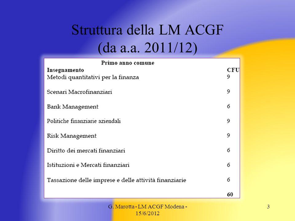 G. Marotta - LM ACGF Modena - 15/6/2012 3 Struttura della LM ACGF (da a.a. 2011/12)