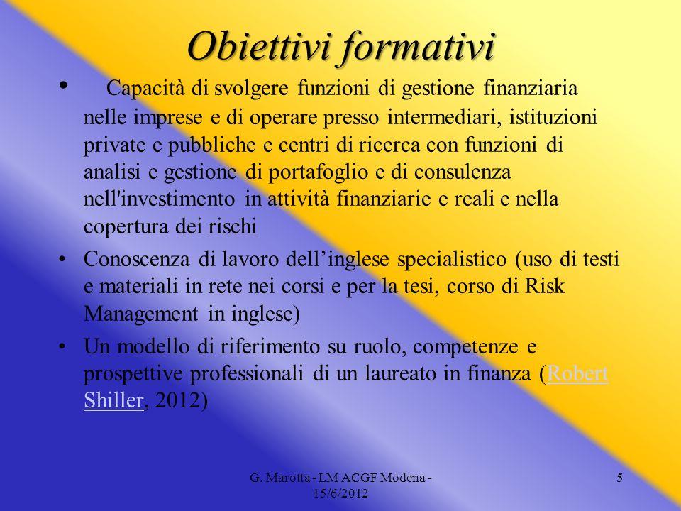 5 Obiettivi formativi Capacità di svolgere funzioni di gestione finanziaria nelle imprese e di operare presso intermediari, istituzioni private e pubb