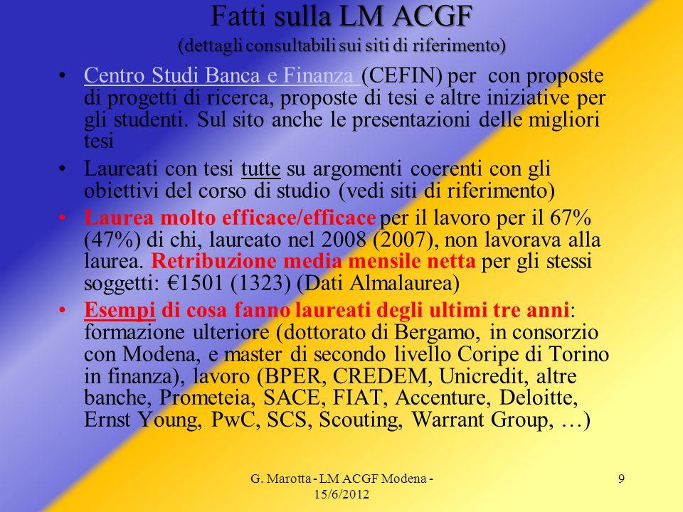 G. Marotta - LM ACGF Modena - 15/6/2012 9 sulla LM ACGF (dettagli consultabili sui siti di riferimento) Fatti sulla LM ACGF (dettagli consultabili sui