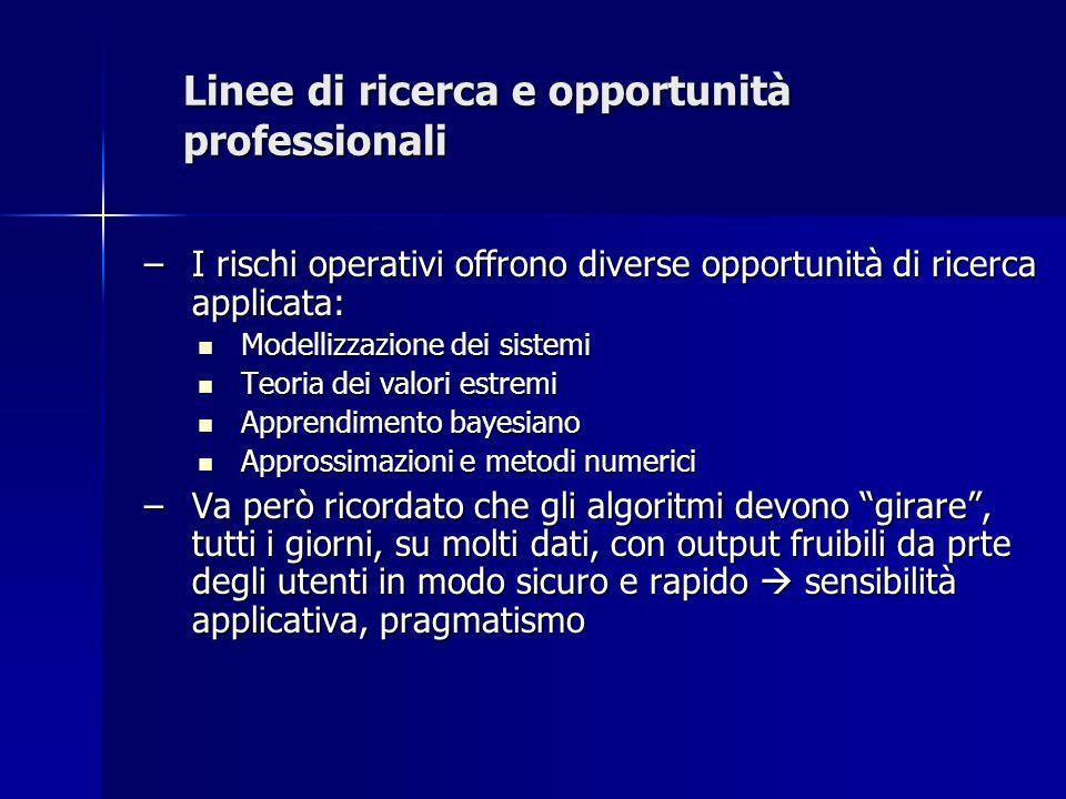 Linee di ricerca e opportunità professionali –I rischi operativi offrono diverse opportunità di ricerca applicata: Modellizzazione dei sistemi Modelli