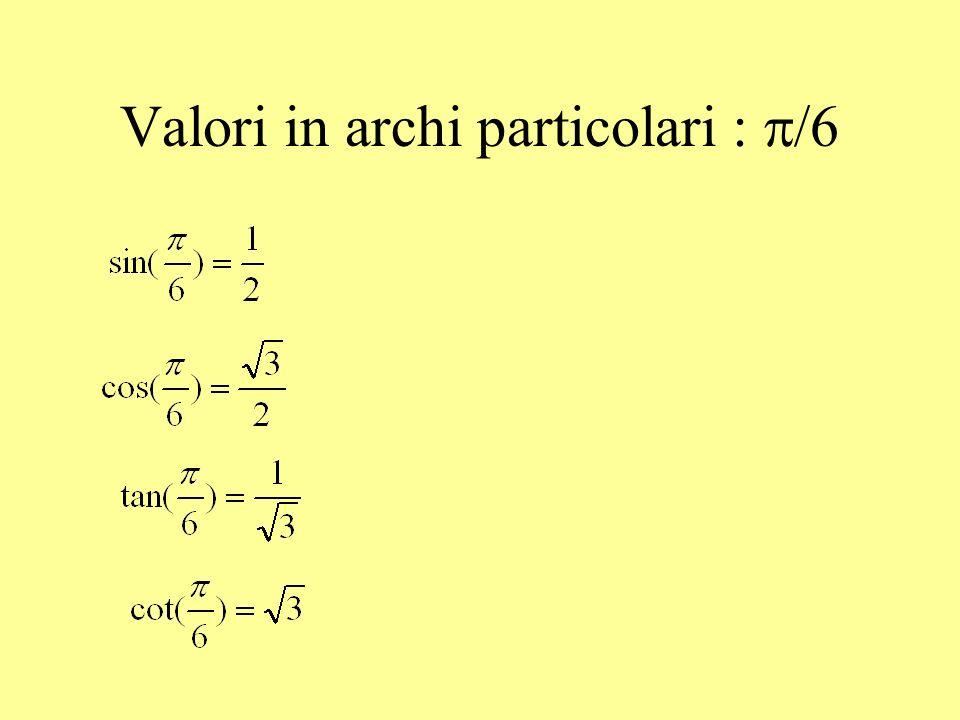 Valori in archi particolari: /3