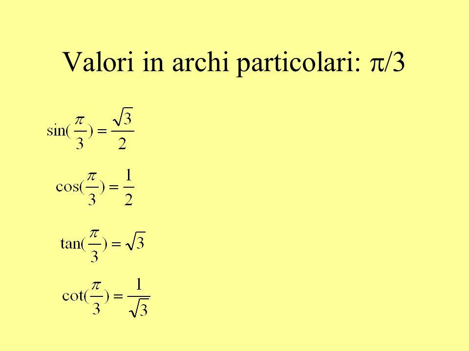 Valori in archi particolari: /4