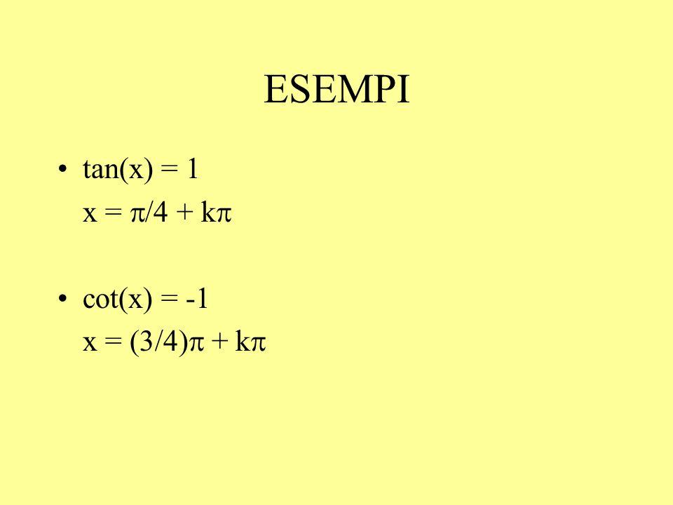 ESEMPI tan(x) = 1 x = /4 + k cot(x) = -1 x = (3/4) + k