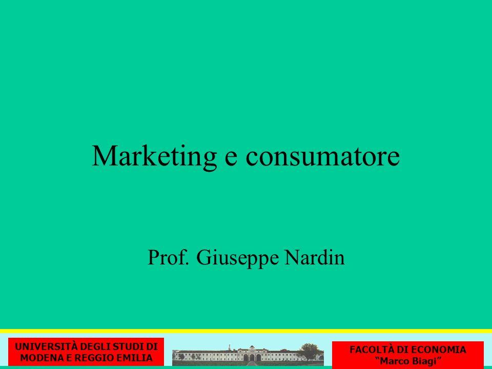 Marketing e consumatore UNIVERSITÀ DEGLI STUDI DI MODENA E REGGIO EMILIA FACOLTÀ DI ECONOMIA Marco Biagi Prof. Giuseppe Nardin