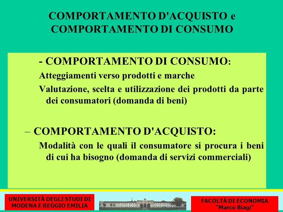 COMPORTAMENTO D'ACQUISTO e COMPORTAMENTO DI CONSUMO - COMPORTAMENTO DI CONSUMO : Atteggiamenti verso prodotti e marche Valutazione, scelta e utilizzaz