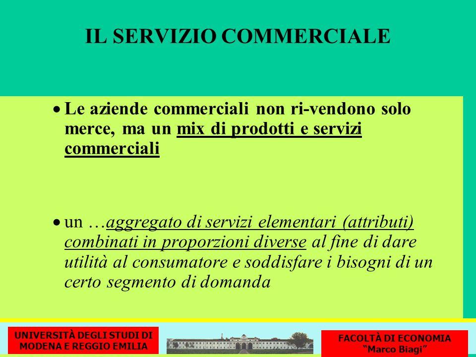 IL SERVIZIO COMMERCIALE Le aziende commerciali non ri-vendono solo merce, ma un mix di prodotti e servizi commerciali un …aggregato di servizi element