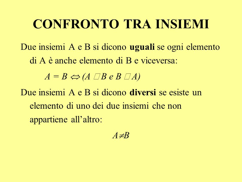 Due insiemi A e B si dicono uguali se ogni elemento di A è anche elemento di B e viceversa: A = B (A B e B A) Due insiemi A e B si dicono diversi se e