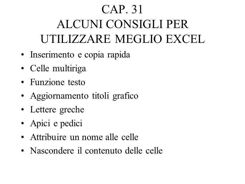 CAP. 31 ALCUNI CONSIGLI PER UTILIZZARE MEGLIO EXCEL Inserimento e copia rapida Celle multiriga Funzione testo Aggiornamento titoli grafico Lettere gre