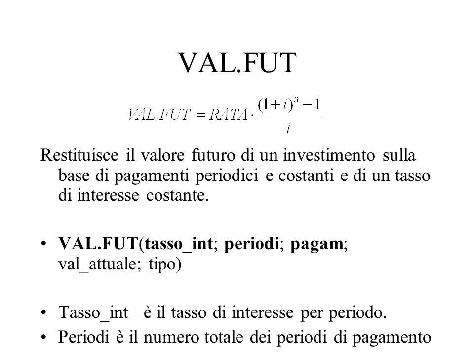 VAL.FUT Restituisce il valore futuro di un investimento sulla base di pagamenti periodici e costanti e di un tasso di interesse costante. VAL.FUT(tass