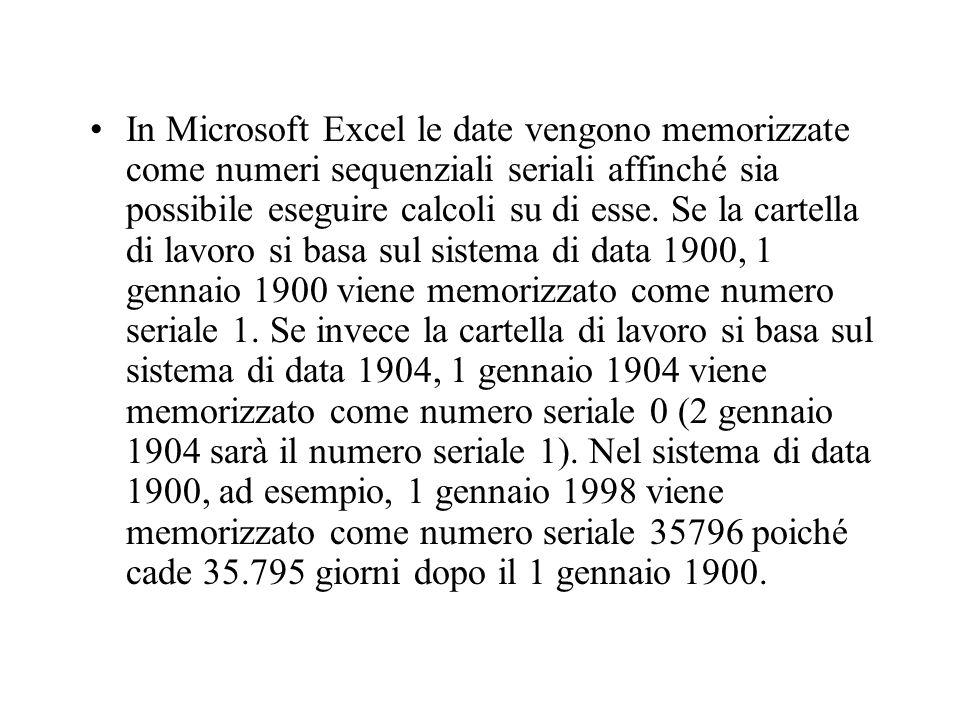 In Microsoft Excel le date vengono memorizzate come numeri sequenziali seriali affinché sia possibile eseguire calcoli su di esse. Se la cartella di l