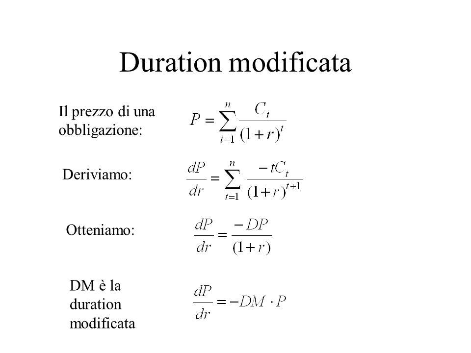 Duration modificata Il prezzo di una obbligazione: Deriviamo: Otteniamo: DM è la duration modificata