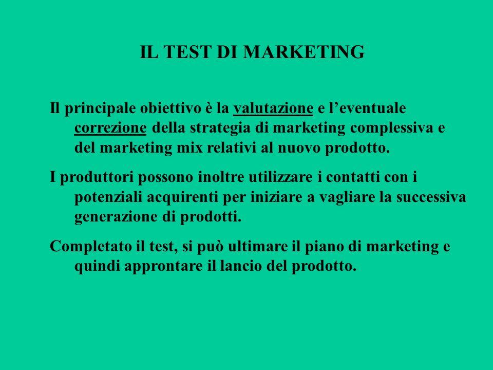 IL TEST DI MARKETING Il principale obiettivo è la valutazione e leventuale correzione della strategia di marketing complessiva e del marketing mix rel