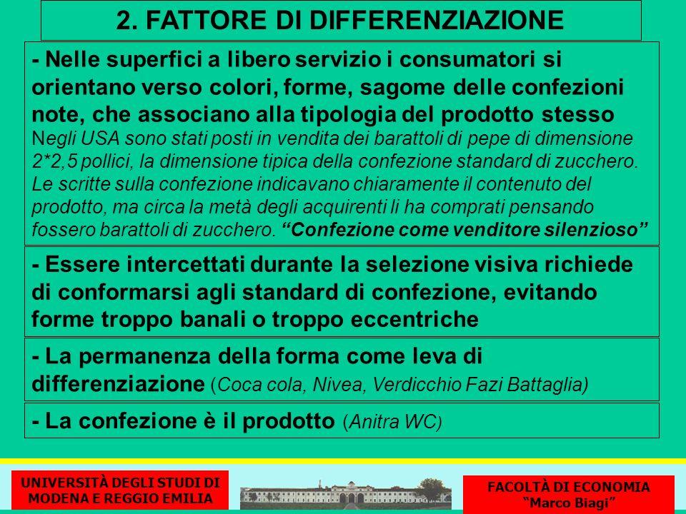 2. FATTORE DI DIFFERENZIAZIONE - Nelle superfici a libero servizio i consumatori si orientano verso colori, forme, sagome delle confezioni note, che a