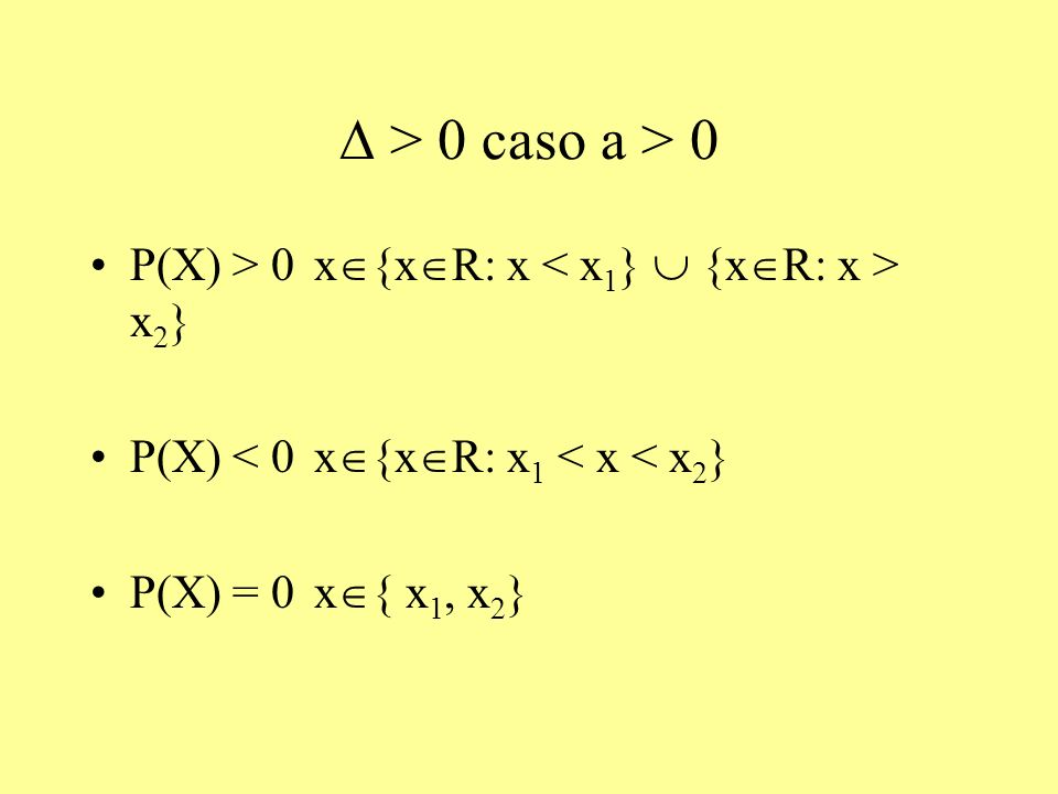 > 0 caso a > 0 P(X) > 0 x {x R: x x 2 } P(X) < 0 x {x R: x 1 < x < x 2 } P(X) = 0 x { x 1, x 2 }