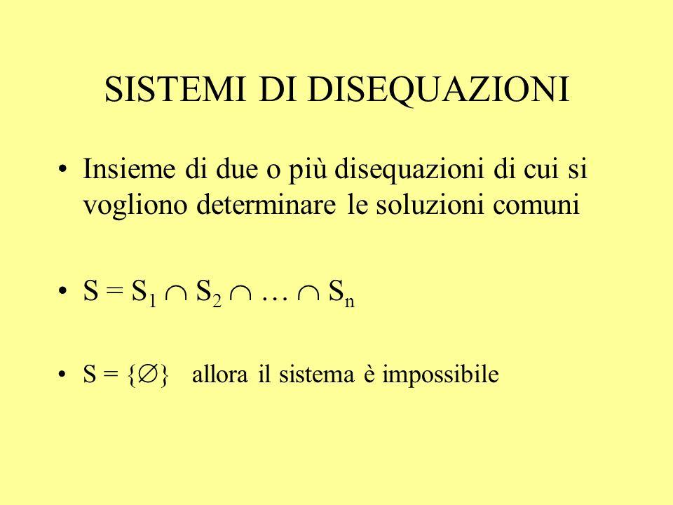 SISTEMI DI DISEQUAZIONI Insieme di due o più disequazioni di cui si vogliono determinare le soluzioni comuni S = S 1 S 2 … S n S = { } allora il siste