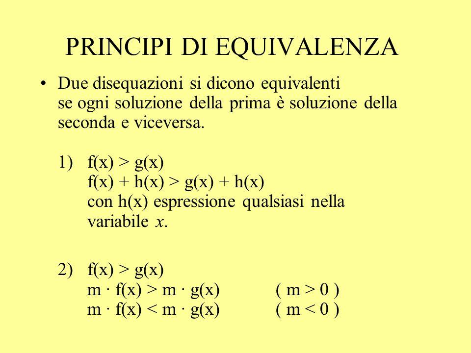 PRINCIPI DI EQUIVALENZA Due disequazioni si dicono equivalenti se ogni soluzione della prima è soluzione della seconda e viceversa. 1) f(x) > g(x) f(x