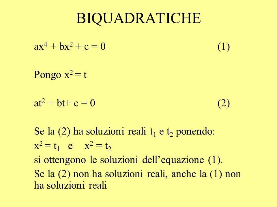 BIQUADRATICHE ax 4 + bx 2 + c = 0 (1) Pongo x 2 = t at 2 + bt+ c = 0(2) Se la (2) ha soluzioni reali t 1 e t 2 ponendo: x 2 = t 1 e x 2 = t 2 si otten