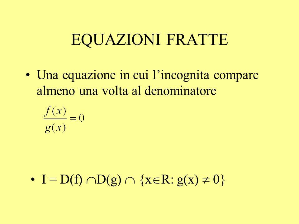 EQUAZIONI FRATTE Una equazione in cui lincognita compare almeno una volta al denominatore I = D(f) D(g) {x R: g(x) 0}
