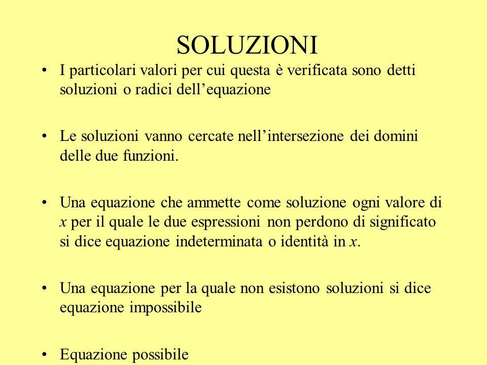 SOLUZIONI I particolari valori per cui questa è verificata sono detti soluzioni o radici dellequazione Le soluzioni vanno cercate nellintersezione dei