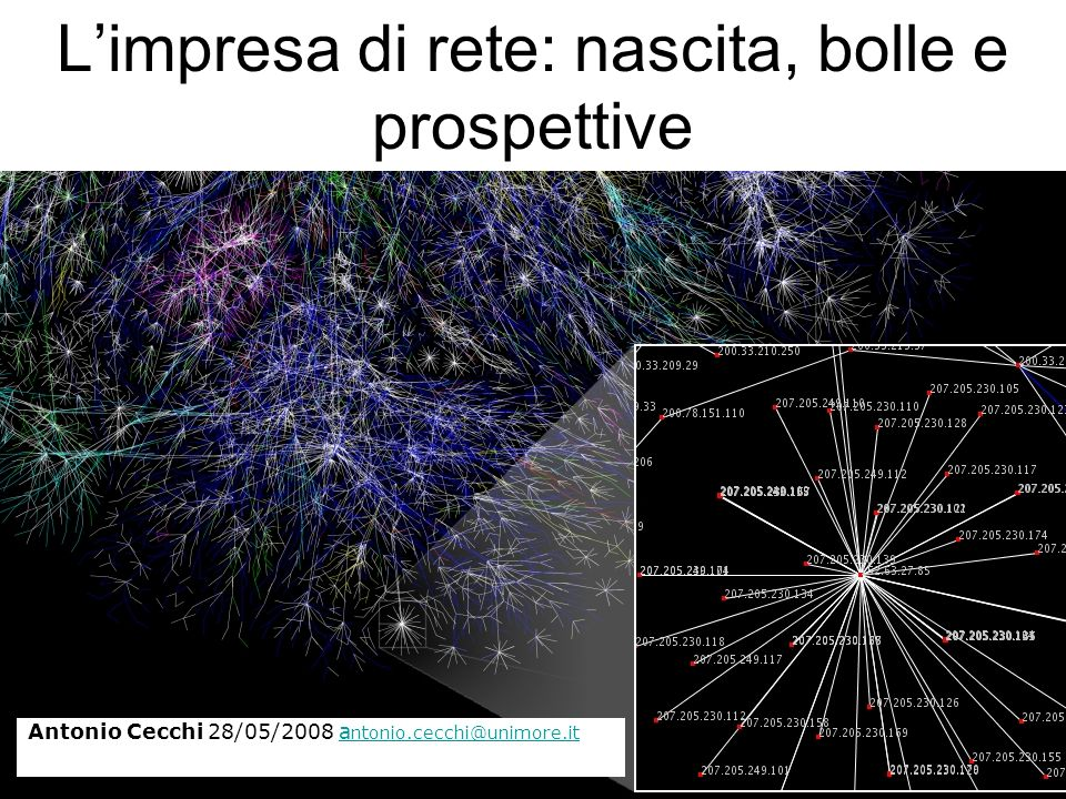 Una (breve) storia di Internet Le reti: i vecchi abiti dellimperatore Limpresa e la rete, bolle e prospettive Limpresa di rete: nascita, bolle e prospettive