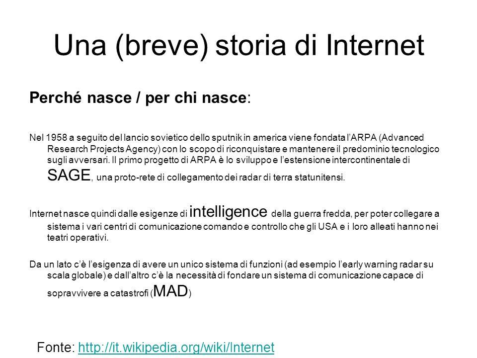 Una (breve) storia di Internet Come funziona.
