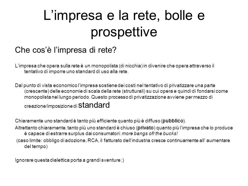 Limpresa e la rete, bolle e prospettive La bolla di Internet (1995-2001) NASDAQ(10/03/2000): 5132.52 NASDAQ(26/05/2008): 2444.67 Fonte: http://en.wikipedia.org/wiki/Dot-com_bubblehttp://en.wikipedia.org/wiki/Dot-com_bubble I cattivi maestri: Get large or get lost Growth over profits No news bad news Il motivo del fallimento: ignoranza e soldi non vanno daccordo (btw: esistono economisti ricchi?) I risultati: Da marzo 2000 a ottobre 2003 sono stati bruciati circa 5 trilioni di dollari (quanti per stampare cd di connessione gratuita a AOL, Tiscali etc.