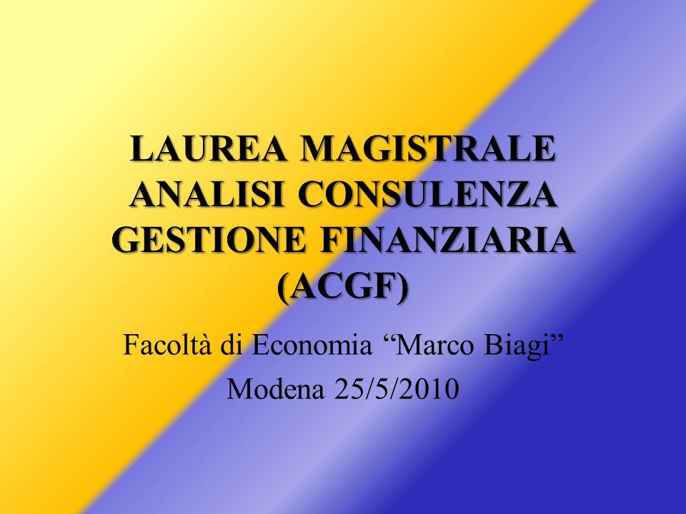 LAUREA MAGISTRALE ANALISI CONSULENZA GESTIONE FINANZIARIA (ACGF) Facoltà di Economia Marco Biagi Modena 25/5/2010