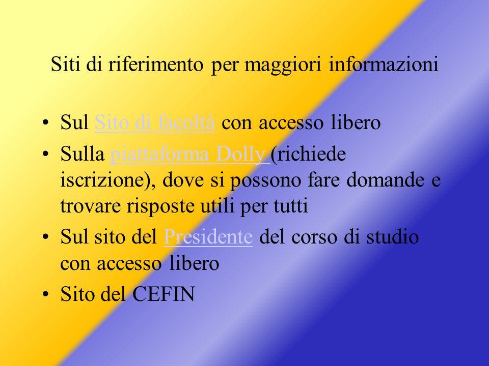 Siti di riferimento per maggiori informazioni Sul Sito di facoltà con accesso liberoSito di facoltà Sulla piattaforma Dolly (richiede iscrizione), dov