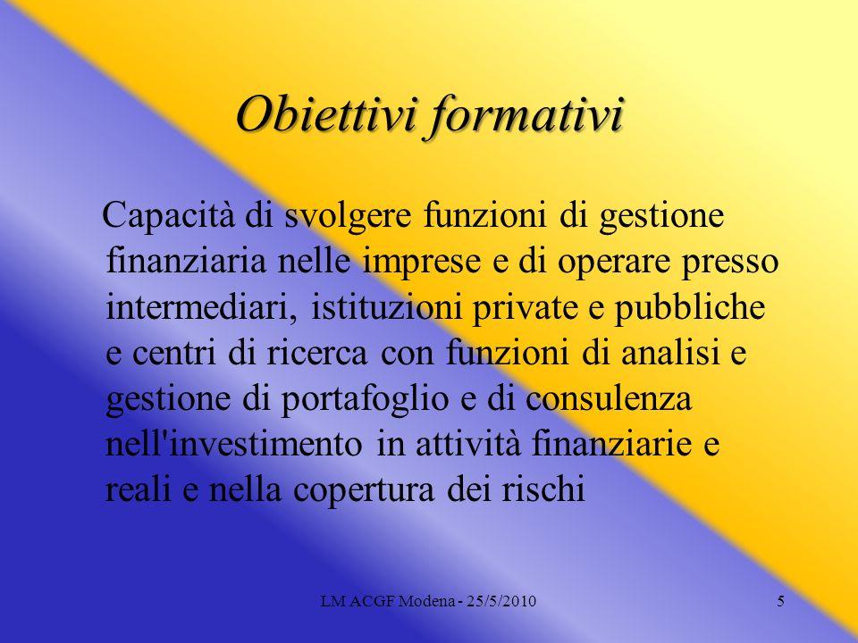 LM ACGF Modena - 25/5/20105 Obiettivi formativi Capacità di svolgere funzioni di gestione finanziaria nelle imprese e di operare presso intermediari,
