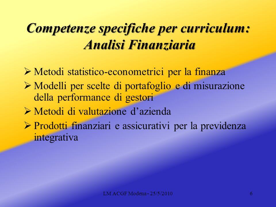 LM ACGF Modena - 25/5/20107 Competenze specifiche per curriculum: Gestione Finanziaria Competenze nella gestione e nel controllo di banche Competenze economico-gestionali e giuridiche nel credito a imprese e nella finanza straordinaria Gestione finanziaria per le famiglie e le PMI (credito e gestione di portafoglio)