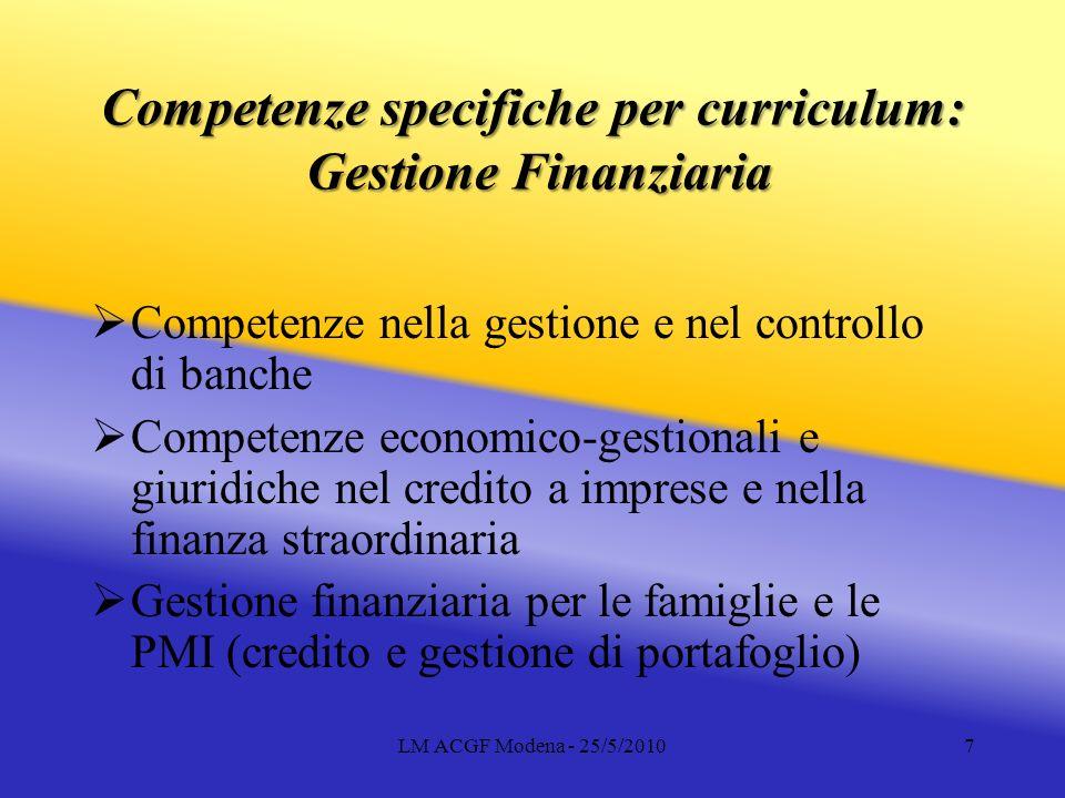 LM ACGF Modena - 25/5/20107 Competenze specifiche per curriculum: Gestione Finanziaria Competenze nella gestione e nel controllo di banche Competenze