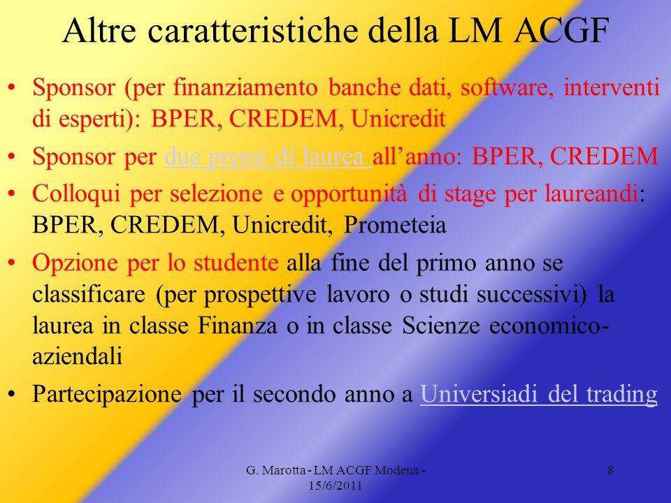 G. Marotta - LM ACGF Modena - 15/6/2011 8 Altre caratteristiche della LM ACGF Sponsor (per finanziamento banche dati, software, interventi di esperti)