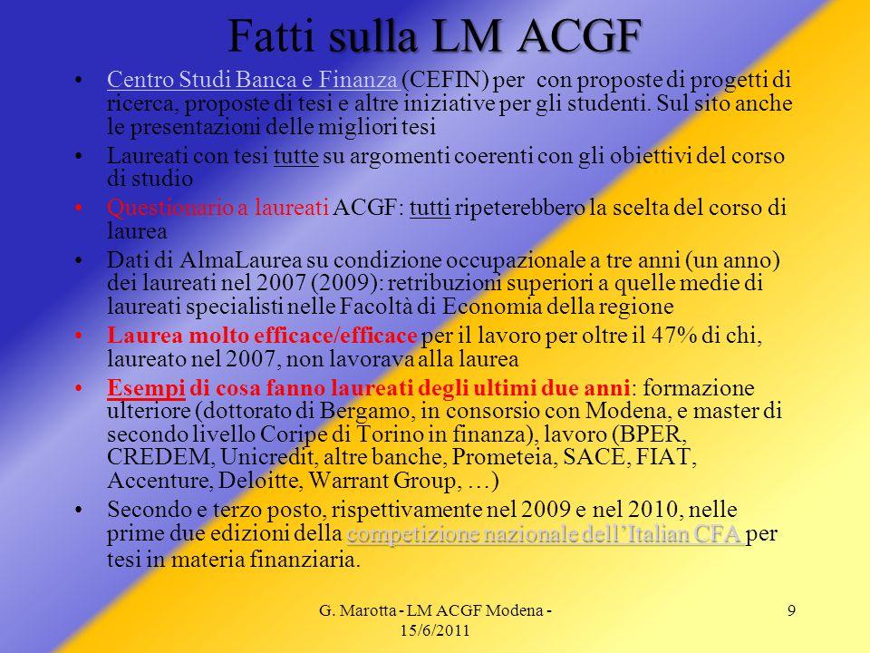 G. Marotta - LM ACGF Modena - 15/6/2011 9 sulla LM ACGF Fatti sulla LM ACGF Centro Studi Banca e Finanza (CEFIN) per con proposte di progetti di ricer