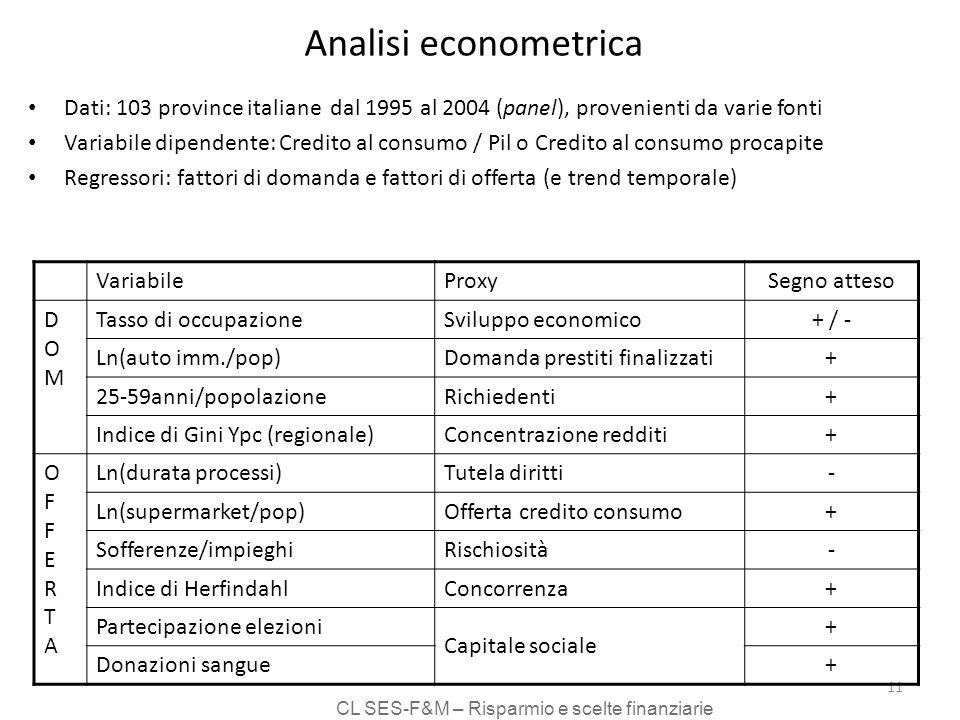 CL SES-F&M – Risparmio e scelte finanziarie 11 Analisi econometrica Dati: 103 province italiane dal 1995 al 2004 (panel), provenienti da varie fonti Variabile dipendente: Credito al consumo / Pil o Credito al consumo procapite Regressori: fattori di domanda e fattori di offerta (e trend temporale) VariabileProxy Segno atteso DOMDOM Tasso di occupazioneSviluppo economico + / - Ln(auto imm./pop)Domanda prestiti finalizzati + 25-59anni/popolazioneRichiedenti + Indice di Gini Ypc (regionale)Concentrazione redditi + OFFERTAOFFERTA Ln(durata processi)Tutela diritti - Ln(supermarket/pop)Offerta credito consumo + Sofferenze/impieghiRischiosità - Indice di HerfindahlConcorrenza + Partecipazione elezioni Capitale sociale + Donazioni sangue +