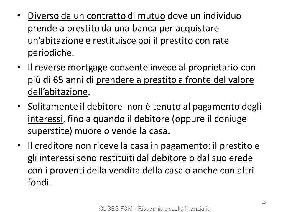 CL SES-F&M – Risparmio e scelte finanziarie 15 Diverso da un contratto di mutuo dove un individuo prende a prestito da una banca per acquistare unabitazione e restituisce poi il prestito con rate periodiche.