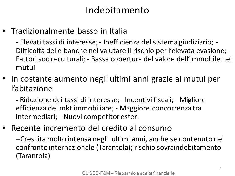 CL SES-F&M – Risparmio e scelte finanziarie 2 Indebitamento Tradizionalmente basso in Italia - Elevati tassi di interesse; - Inefficienza del sistema