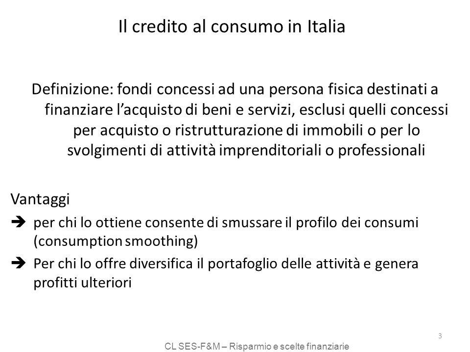 CL SES-F&M – Risparmio e scelte finanziarie 3 Il credito al consumo in Italia Definizione: fondi concessi ad una persona fisica destinati a finanziare