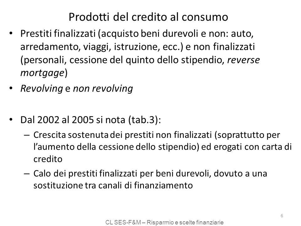 CL SES-F&M – Risparmio e scelte finanziarie 6 Prodotti del credito al consumo Prestiti finalizzati (acquisto beni durevoli e non: auto, arredamento, viaggi, istruzione, ecc.) e non finalizzati (personali, cessione del quinto dello stipendio, reverse mortgage) Revolving e non revolving Dal 2002 al 2005 si nota (tab.3): – Crescita sostenuta dei prestiti non finalizzati (soprattutto per laumento della cessione dello stipendio) ed erogati con carta di credito – Calo dei prestiti finalizzati per beni durevoli, dovuto a una sostituzione tra canali di finanziamento