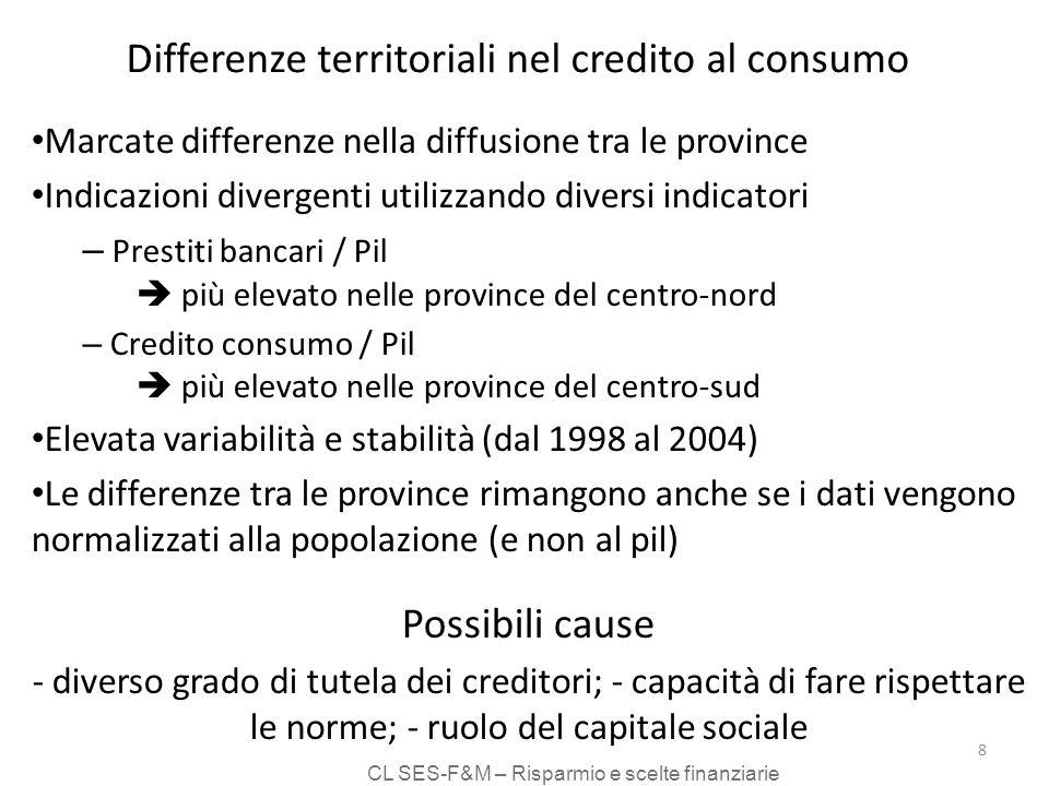 CL SES-F&M – Risparmio e scelte finanziarie 8 Differenze territoriali nel credito al consumo Marcate differenze nella diffusione tra le province Indic