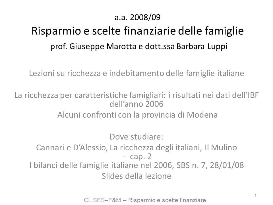 CL SES–F&M – Risparmio e scelte finanziare 11 a.a. 2008/09 Risparmio e scelte finanziarie delle famiglie prof. Giuseppe Marotta e dott.ssa Barbara Lup